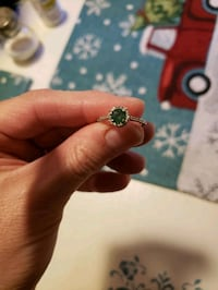 Lab created emerald ring with diamond chips