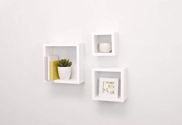 Floating Shelves in White - Set of 3 Cubes