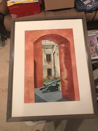 Painting of 19th century cannon. Reprint. Framed and matted Glen Burnie, 21060