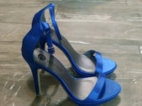 pair of blue open-toe ankle strap heels Houston, 77091