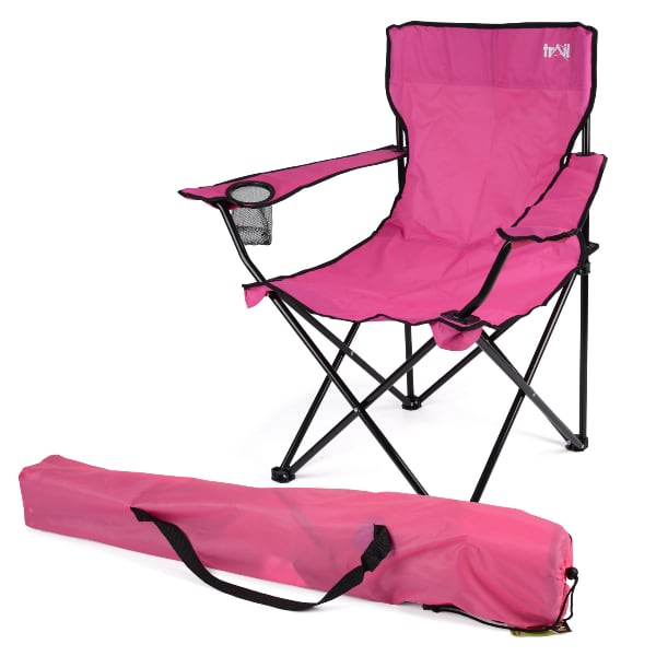 Pink folding chair with bag.