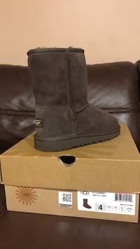 Size 4 gray ugg sheepskin boot with box