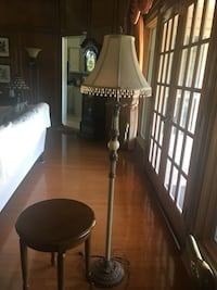 Antique Pedestal Lamp and Small Wooden Side Table Carrollton, 75007