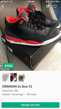 black-and-red Air Jordan 3 shoes screenshot District Heights, 20747