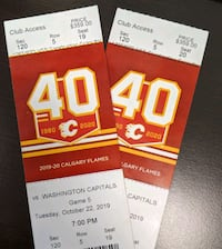 Flames v Capitals October 22 Club Access Sec120 Row 5  Calgary, T2Z