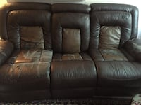 Distressed brown leather 3-seat recliner sofa Chevy Chase, 20815