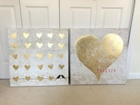 Set of two 2' x 2' gold leaf heart picture art Woodstock, 21163