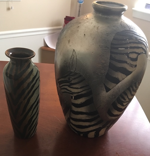 Used 2 Animal Print Vases Selling As A Paor For Sale In League City