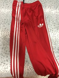 Red and white adidas track pants Surrey