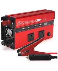 UFire Upgraded Smart 500W Power Inverter DC 12V to 110V AC Car Converter with Intelligent Digital Display, Dual AC Outlets and 4 USB Charging Ports for Tablets, Laptops and Smartphone - Red Manteca