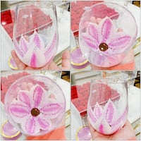 PRICE IS FIRM, PICKUP ONLY - Hand-Painted Pink Flower Stemless Wine Glass - BN- Toronto, M4B 2T2