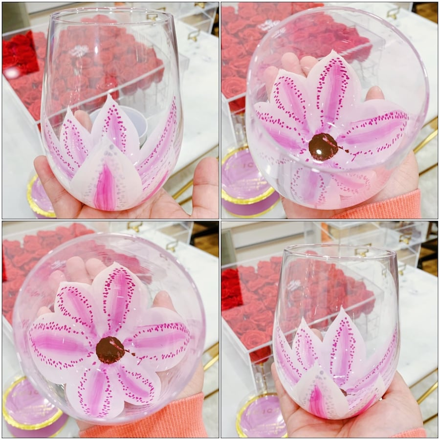 Hand-Painted Pink Flower Stemless Wine Glass