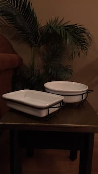 2 white ceramic casserole dishes in stands $3 each Langley, V3A 9J6