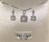 Piercing pagoda - jewelry - earrings, necklace and ring set - opal, october birthstone Montgomery Village