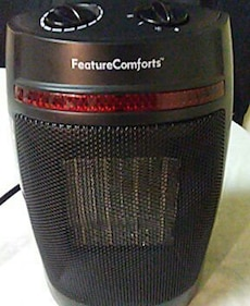 red and black feature comforts space heater