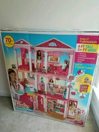 white and pink Barbie 3-storey dollhouse box
