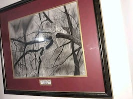 Big Original Framed Leopard Drawing
