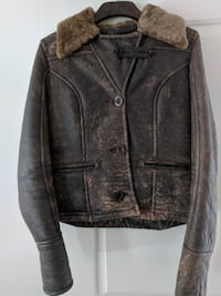 UGG Distressed Leather Shearling Lambskin Coat Bomber MARKHAM