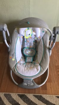 baby's gray and white bouncer 2345 mi