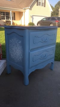 2 draw  bedside table with custom raised mandalas in paris blue stain top like new Jacksonville, 28540