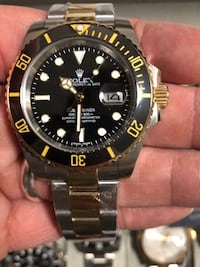 Rolex submariner 2-tone watch gold and silver black face innnstgramm @luxury_brandz416 Toronto, M6K 3G7