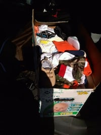Box of baby boy clothes and shoes 1391 mi