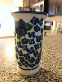 white and blue ceramic vase Falling Waters, 25419