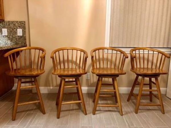 MOVING SALE- wooden bar/kitchen island stools (4)