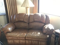 brown leather 3-seat recliner sofa