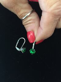"""2CT TW.  18K WHITE GOLD PLATED LEVER BACK EARRINGS """"GENUINE EMERALD""""!!!  Very Dainty & Beautiful!!!  Price:  $10 Mardela Springs, 21837"""