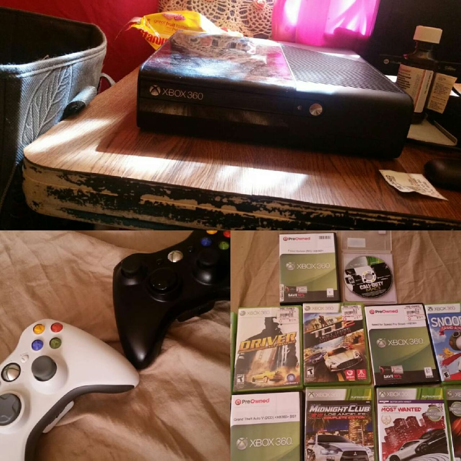 Home Alabama Phenix City Electronics Black Xbox 360 Console With Games ...