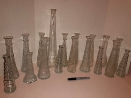 18 Vintage Etched Glass Bud Vases of multiple sizes and designs