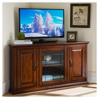 Leick Riley Holliday 50 in. Corner TV Console with Leaded Glass Doors - Burnished Oak, SKU# 43-109 G1 Santa Ana