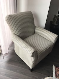 gray and white striped sofa chair Vienna, 22182