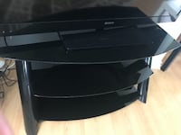 Black glass table tv stand