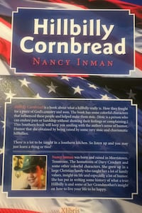 """Book """"Hillbilly Cornbread"""" signed copy by Local Author Nancy Inman Baltimore, 21237"""