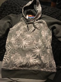 Gray and brown floral print pullover hoodie