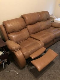 brown leather 3-seat recliner sofa DENVER