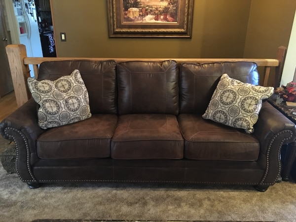 Used Dark Brown Leather Couch And Or