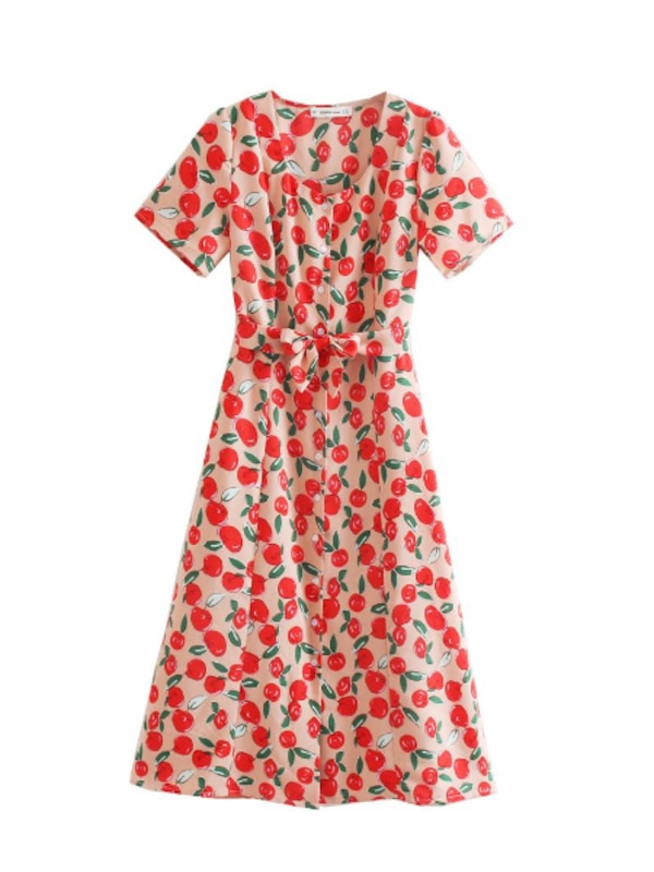 MACKZIE APPLE PRINT LONG DRESS IN RED  bec4b177-f8e4-478c-8315-c3951adb8835