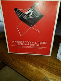 NEW PORTABLE POP UP BBQ GRILL AND TOOL SET.