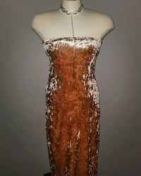 brown and white floral spaghetti strap dress Longueuil, J4J 2V4