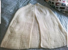 Vintage Handmade Cape Sweater Poncho With 3 button closure