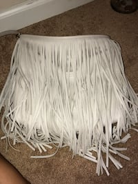 white and gray fringe scarf Triangle, 22172