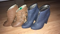 Two pair of brown and blue leather botties Burlington, L7L 3T9