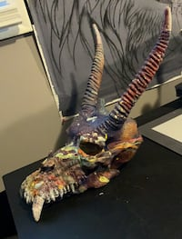 Colorful dragon skull replica