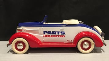 Liberty Classic LE Blue Whit & Red Parts Unlimited Car Toy Coin Bank.