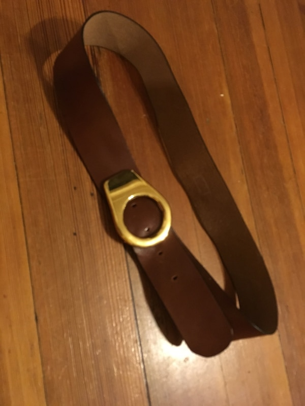 Cute vintage brass and leather women's belt