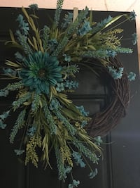 "18"" grapevine wreath with teal flowers  Collegedale, 37363"