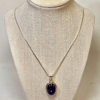 Sterling Silver Amethyst Pendant with Sterling Rope Chain Ashburn